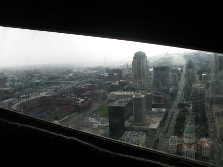 View of St. Louis from the top of the Arch.