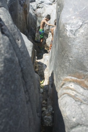 Looking along a narrow eroded joint.