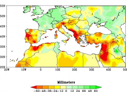 Reds and oranges highlight lands around the Mediterranean that experienced significantly drier winters during 1971-2010 than the comparison period of 1902-2010. Credit NOAA.