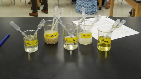 Sample solutions to be tested.