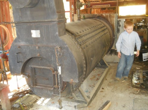 The boiler for the steam engine.