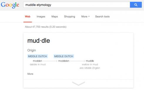 """The etymology of """"muddle""""."""