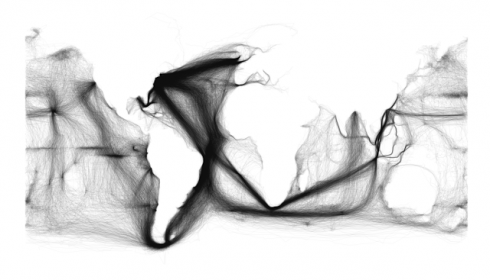Ships tracks in black, plotted on a white background, show the outlines of the continents and the predominant tracks on the trade winds.  Image and caption from Sapping Attention.