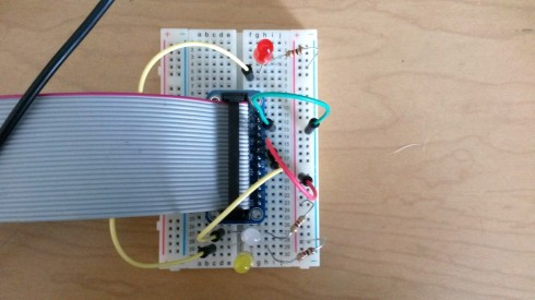 LED light circuits on a breadboard controlled to Raspberry Pi.