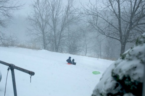 Kids sledding (at home) on a snow day.