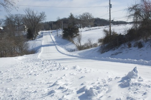 The road to school (from the west) on a snow day.