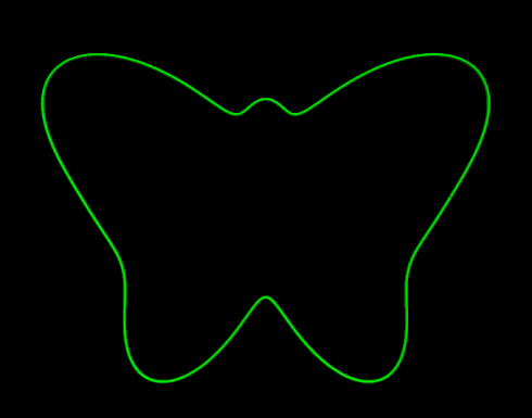 A butterfly outline drawn from a trigonometric function in polar coordinates.