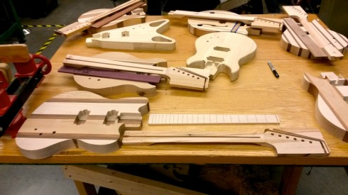 Bodies, fretboards and necks.