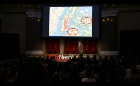 Image capture from Ben Wellington's TED Talk on what can be done with data from New York City.