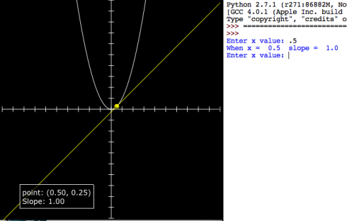 Screen capture: Enter an x value and the program calculates the slope for the function and draws the tangent line.