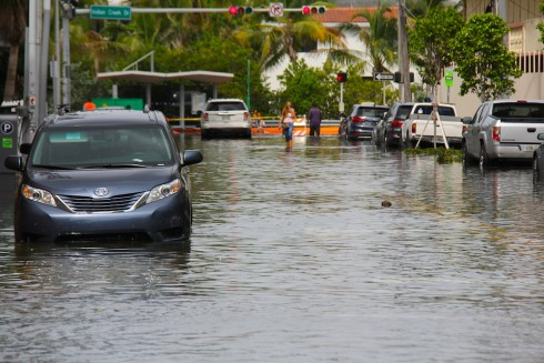 "Flooded street during a ""King Tide"" in Miami Beach, Florida. Image from NOAA."