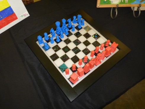 Chess board with 3d printed pieces.