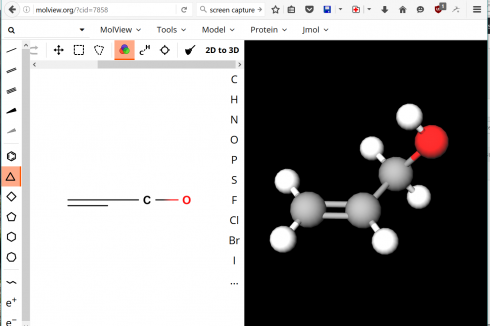 Screen capture from MolView showing the 2d window on the left where the molecule is drawn, and the rotatable 3d view on the right.