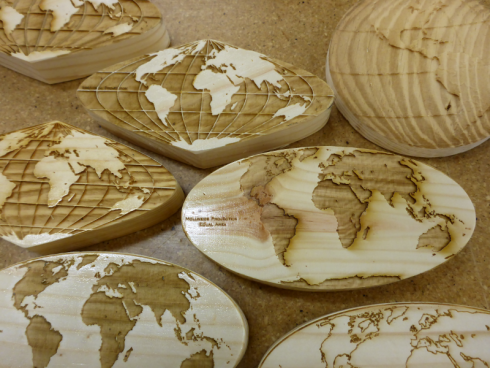 Erasers with different map projections.