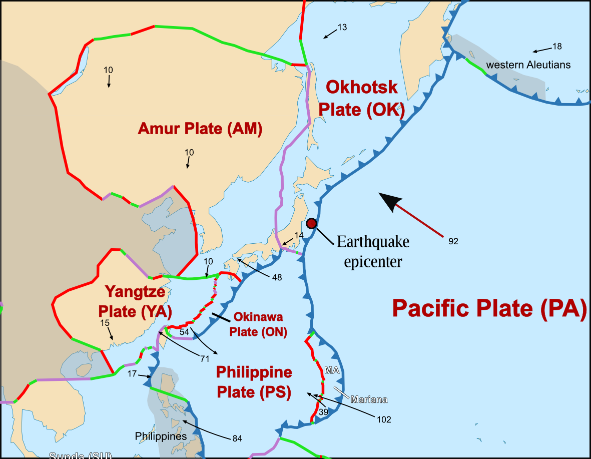 Image result for japan earthquake 2011 tectonics