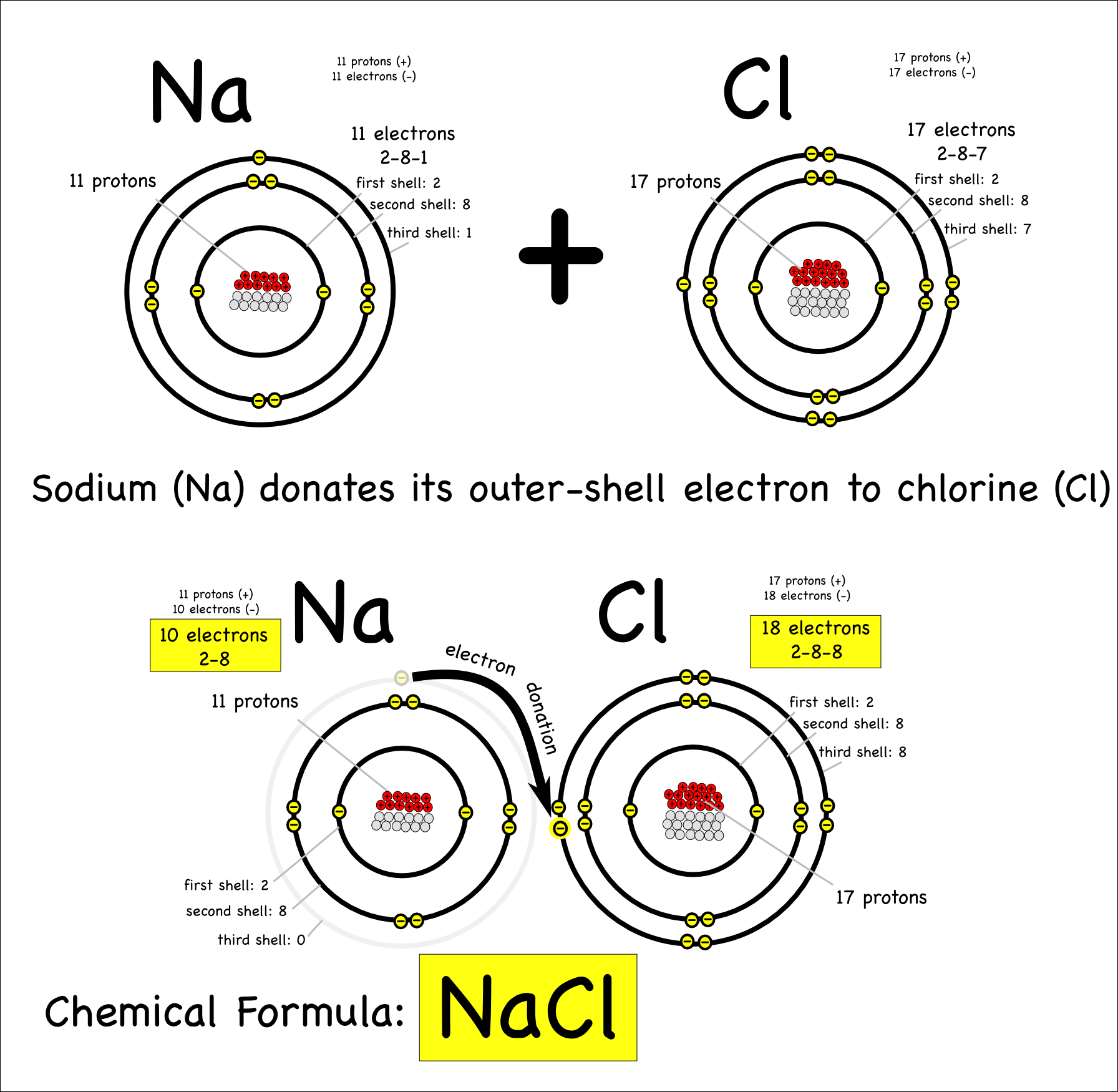Sodium and chloride bond ionically when sodium donates an electron to ...
